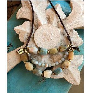 Boho Leather and Amazonite Necklace